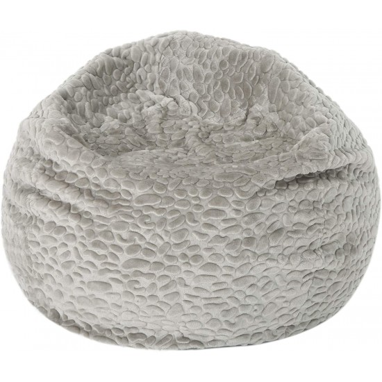 Christopher Knight Home Laraine Furry Glam Grey Pebble Pattern   Luxury Bean Bags