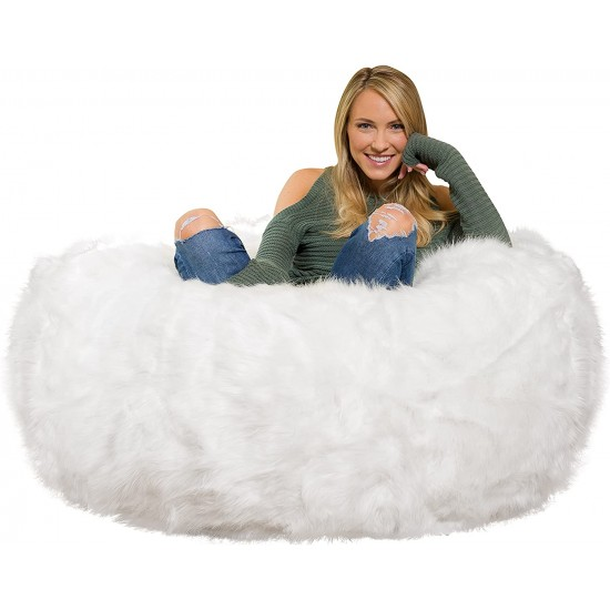 Comfy Sacks 4 ft Memory Foam Bean Bag Chair, White Furry   Luxury Bean Bags