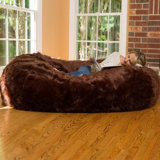 Comfy Sacks Lounger Memory Foam Brown Furry