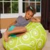 Posh Beanbags Big Comfy Bean Bag Swirls Lime and White | Classic Bean Bags