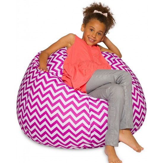 Posh Bean Bag Chair Chevron Purple and White | Kids Bean Bags