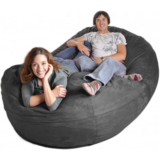 SLACKER 8-Feet Foam Microsuede Beanbag Lounger Giant Charcoal Gray | Luxury Bean Bags